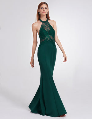 Halter Maxi Dress Dark Green