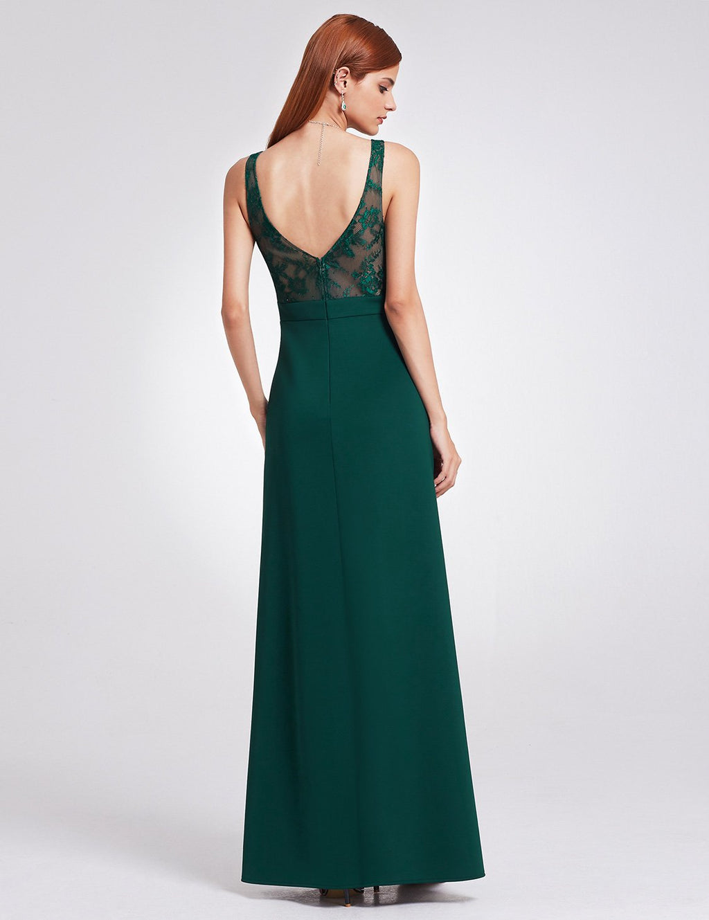 Sexy Neckline Polyester Long Maxi Dress Dark Green