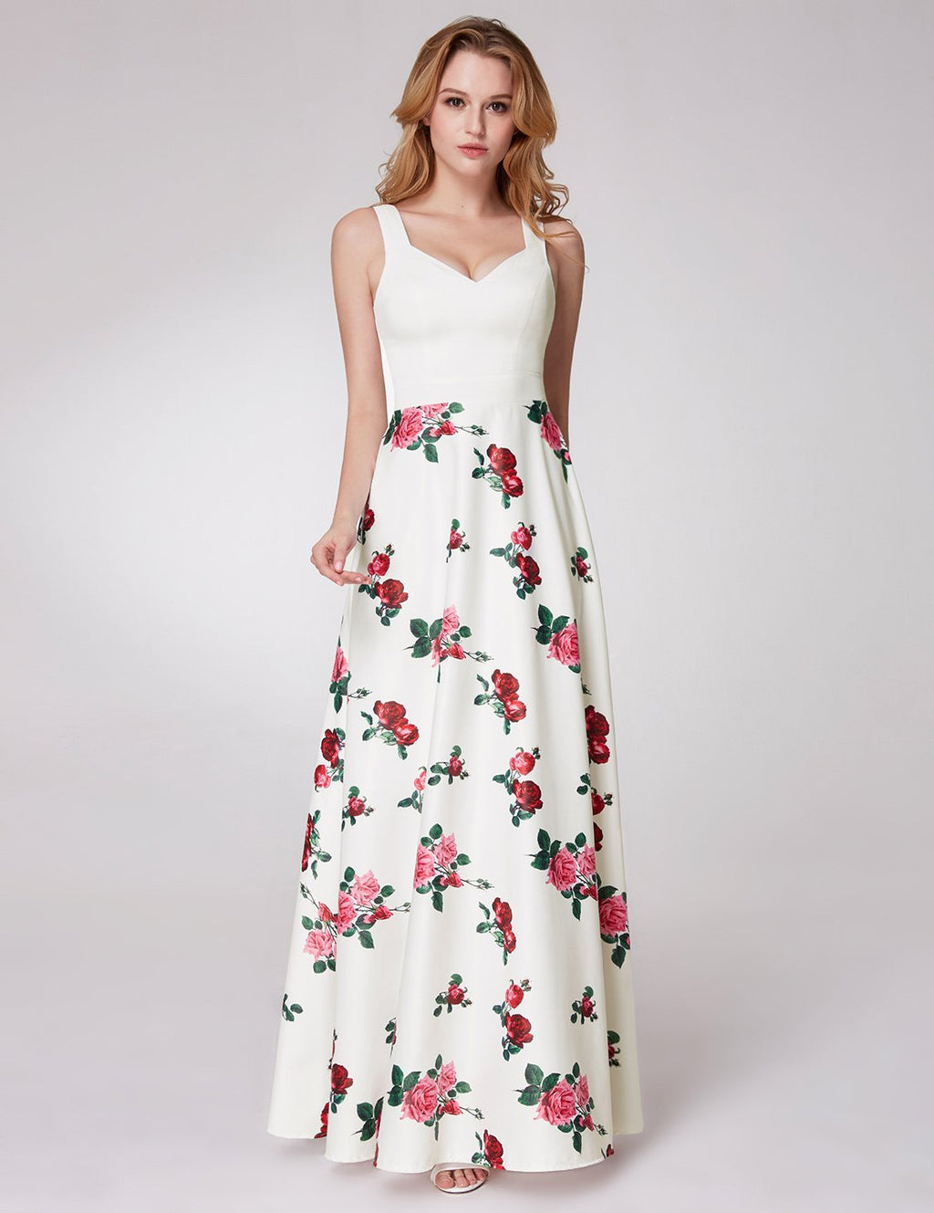 Floral Long Dress White