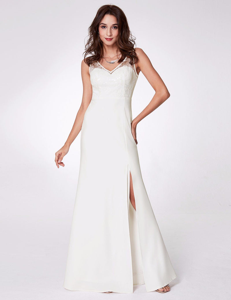 Elegant V Neck Slit Dress White
