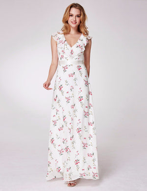 Romantic Floral Long Dress White