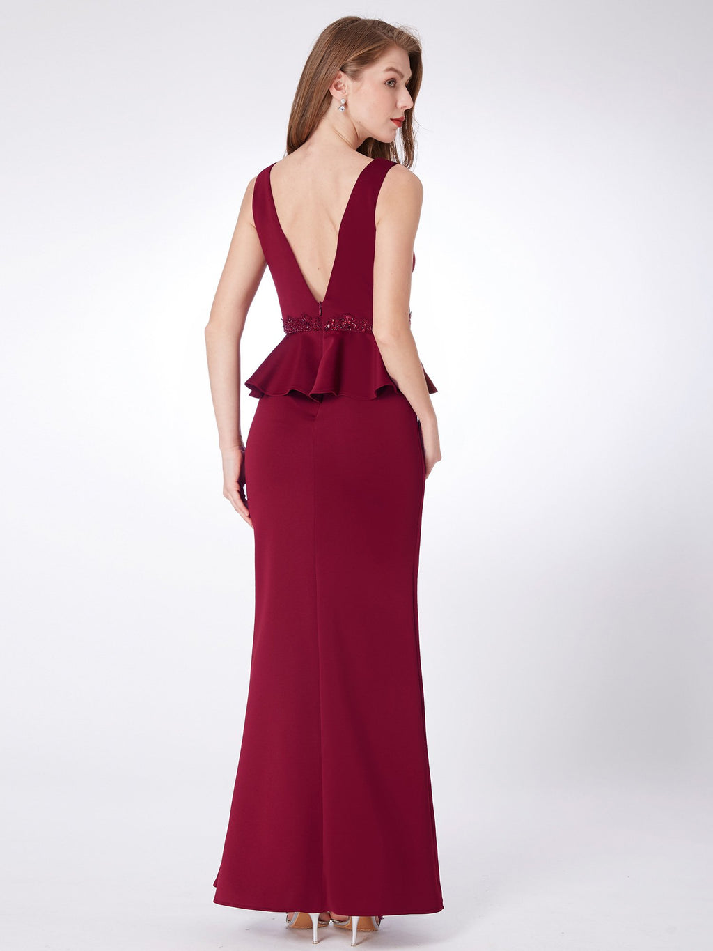 Elegant Long Evening Dress Burgundy