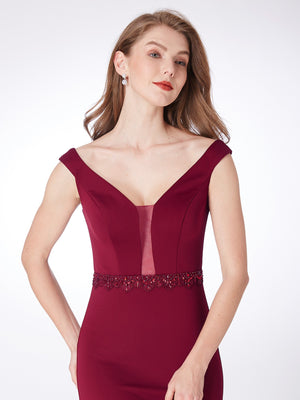 Feminine Long Evening Dress Burgundy