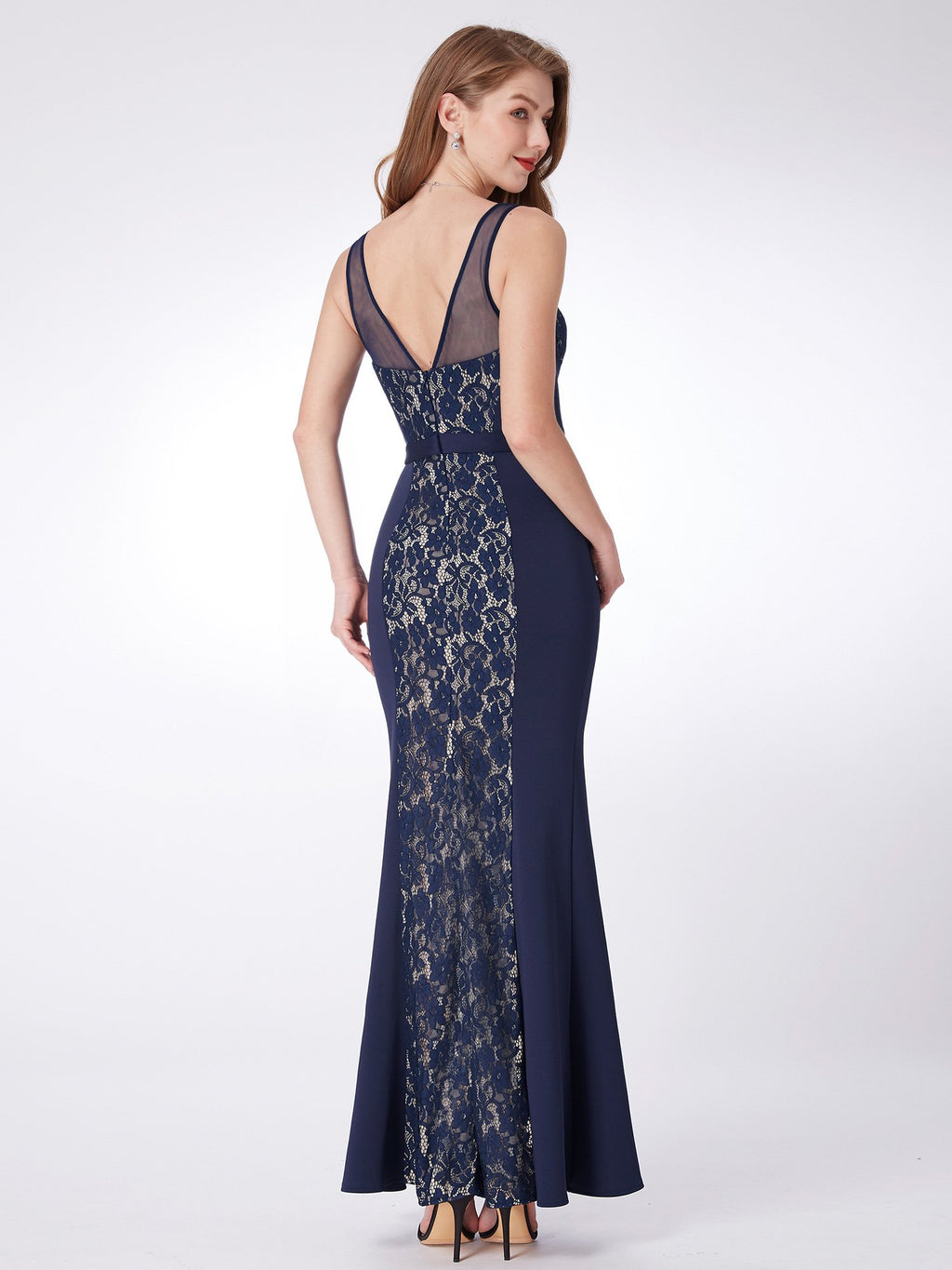 Lace V Neck Gown Navy Blue