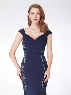 Fashionable Lace Long Dress Navy Blue