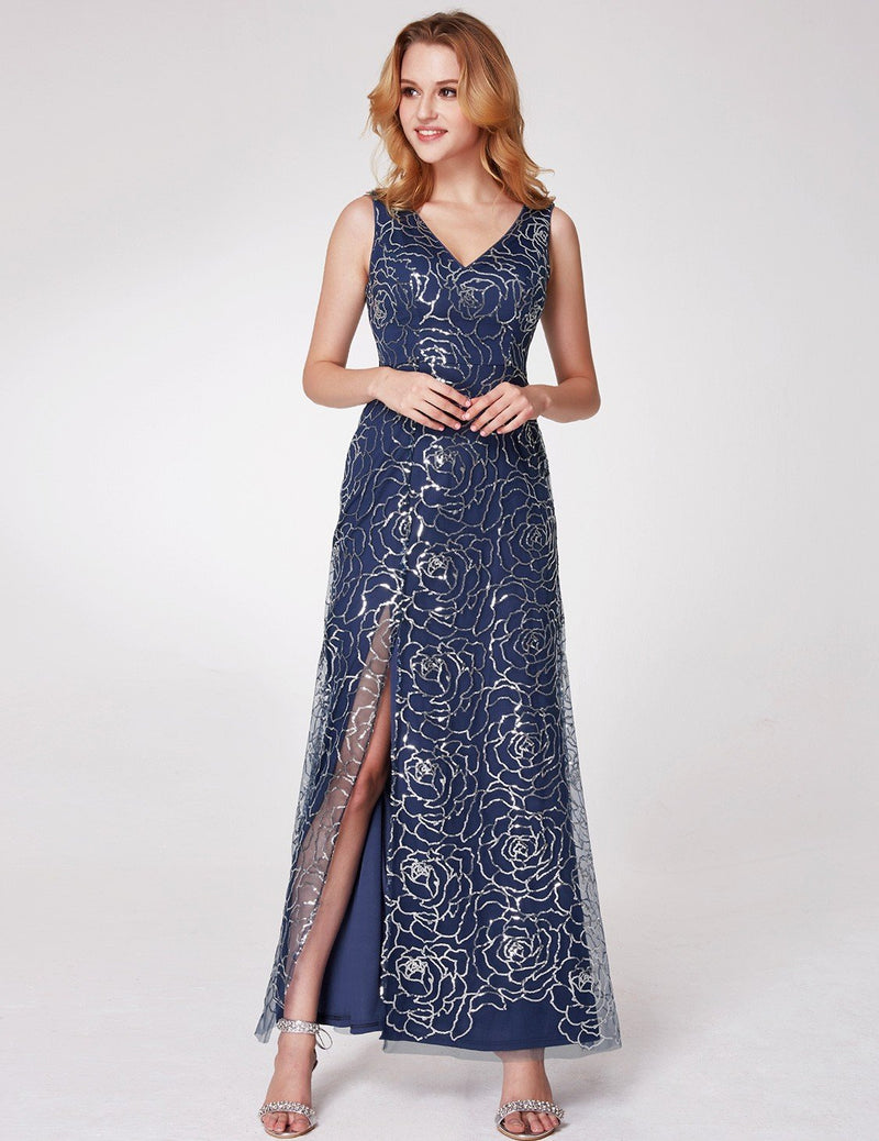 V Neck Floral Slit Dress Navy Blue