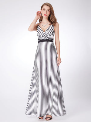 Striped Long Simple Gown