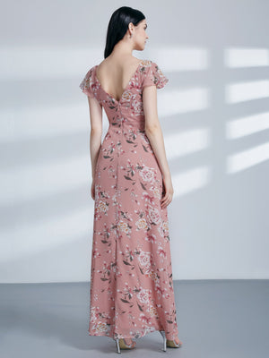 V Neck Flower Long Dress Pink