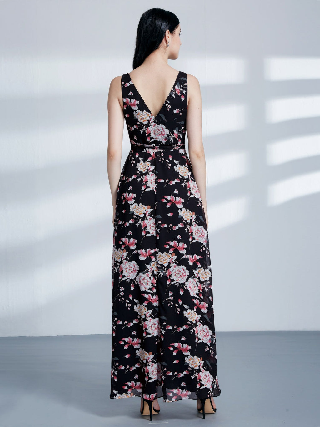 V Neck Floral Black Long Dress