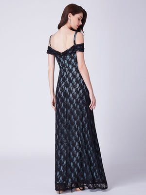 Pretty Shoulders Grand Long Dress Black