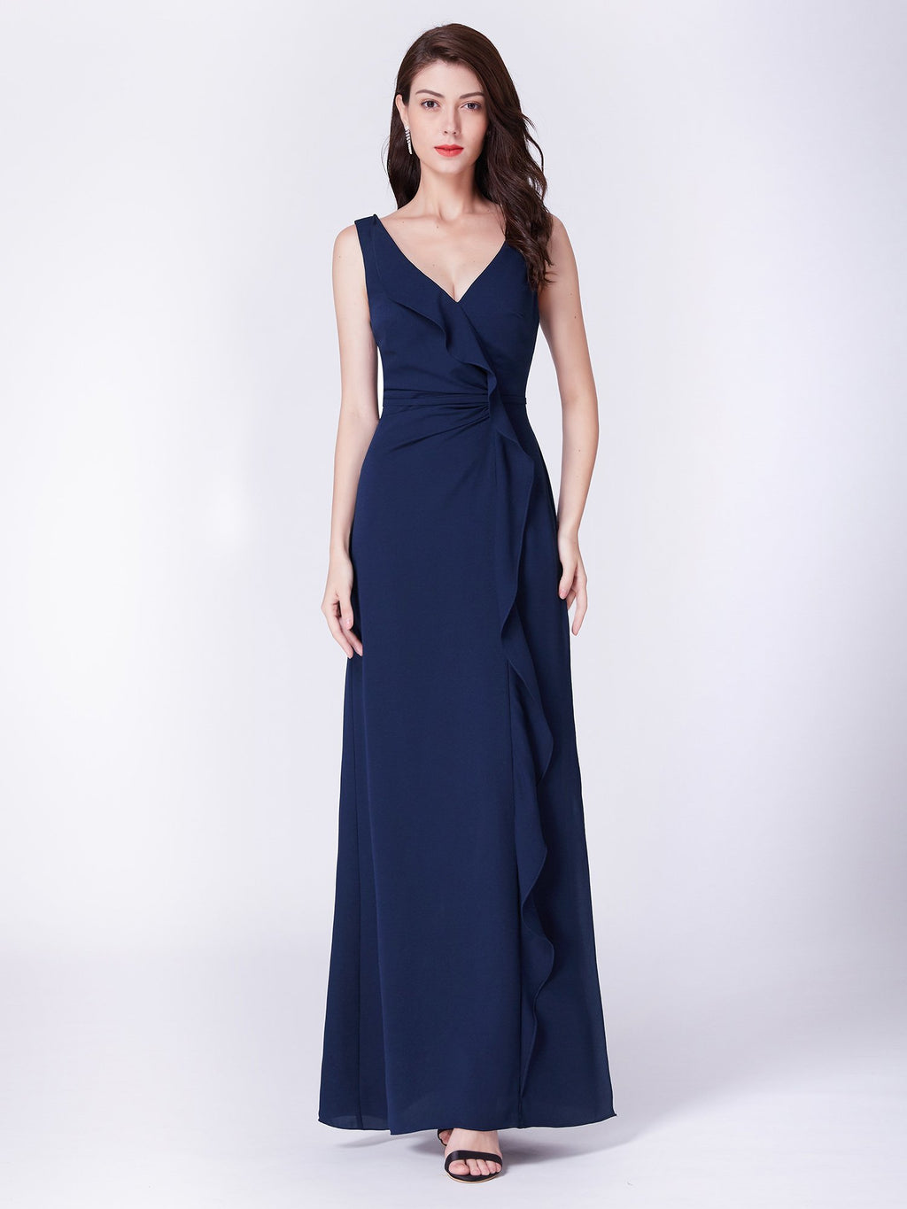 Ruffles Romantic Long Dress Navy Blue