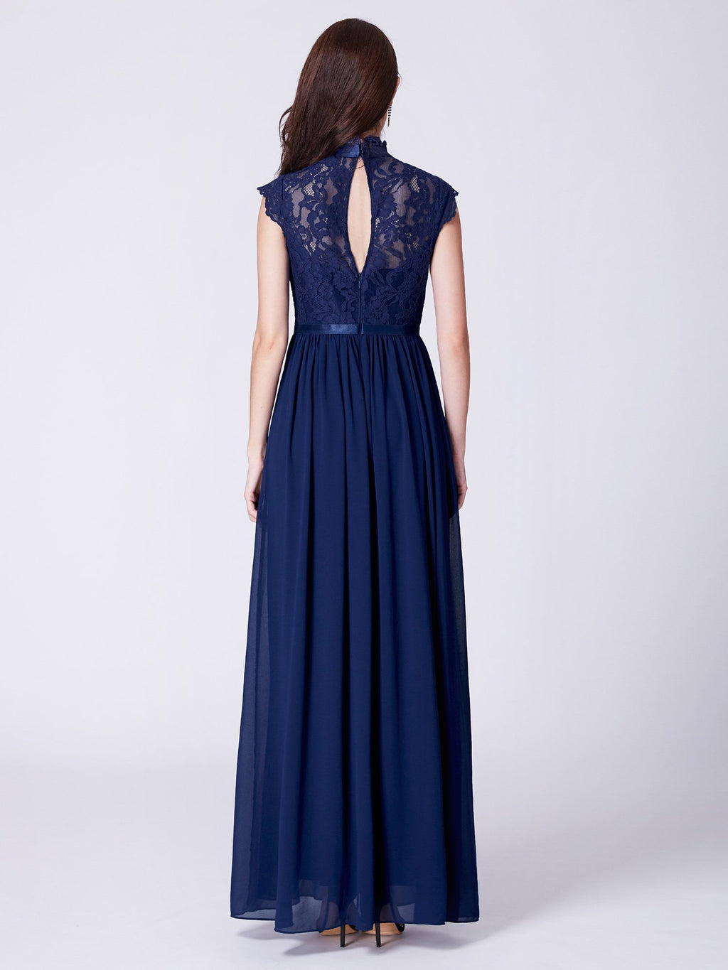 Long Resplendent Evening Dress Navy Blue