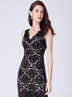 Floral Lace Romantic Evening Dress Black
