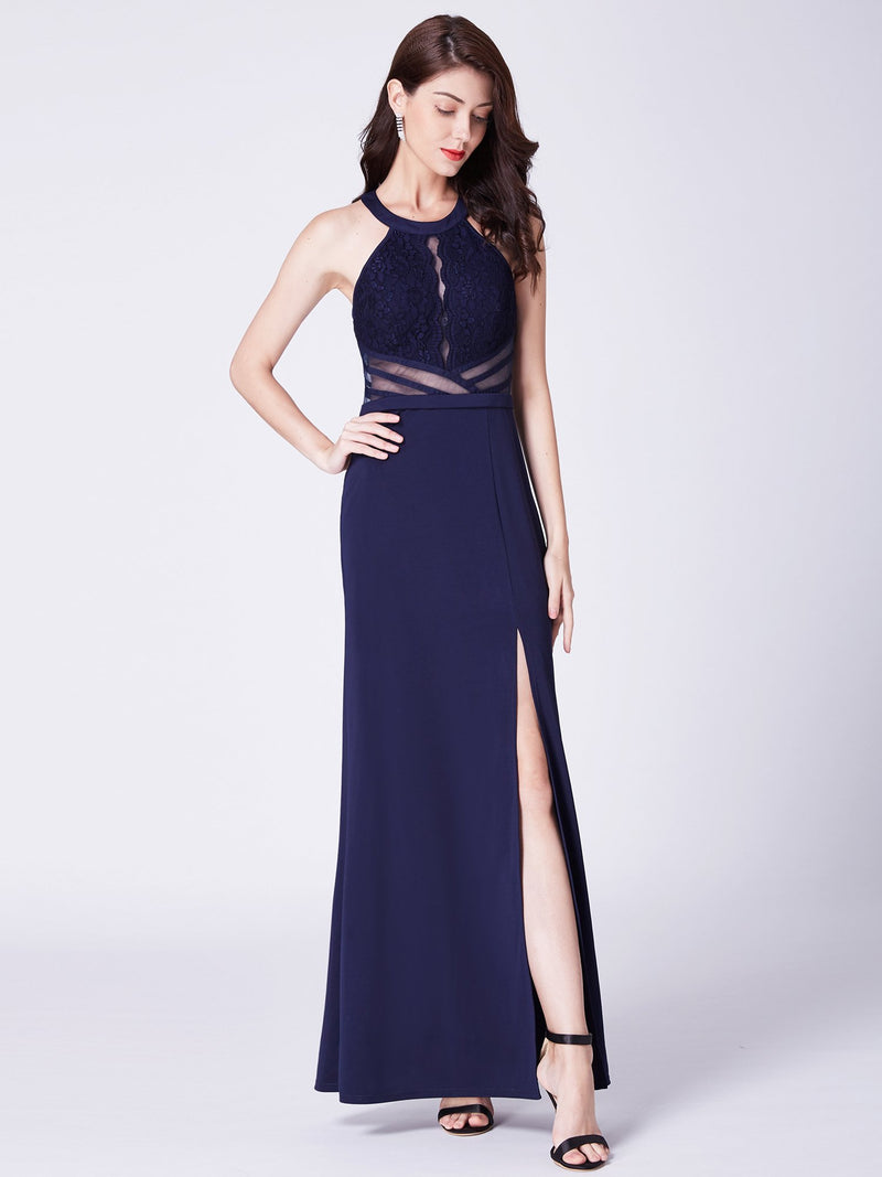 Long Slit Dress Navy Blue