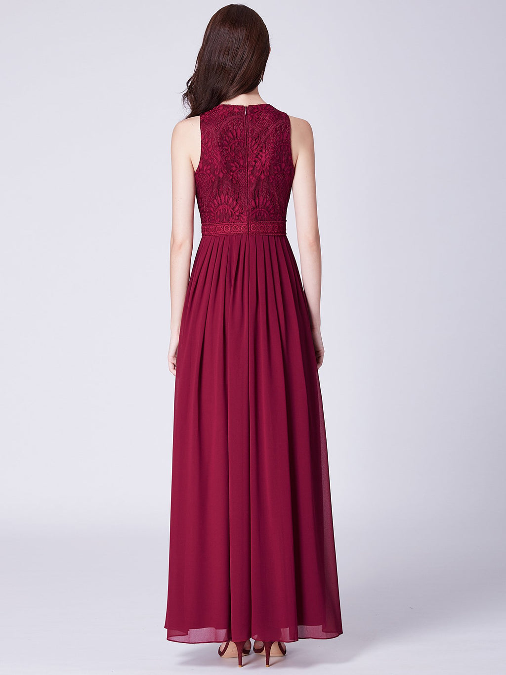 Pleated Long Outstanding Maxi Dress Burgundy