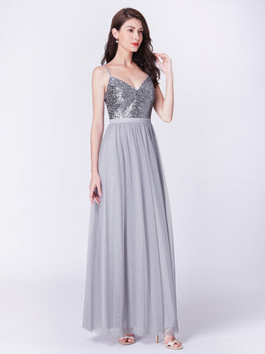 Tulle Long Charming Evening Dress Silver
