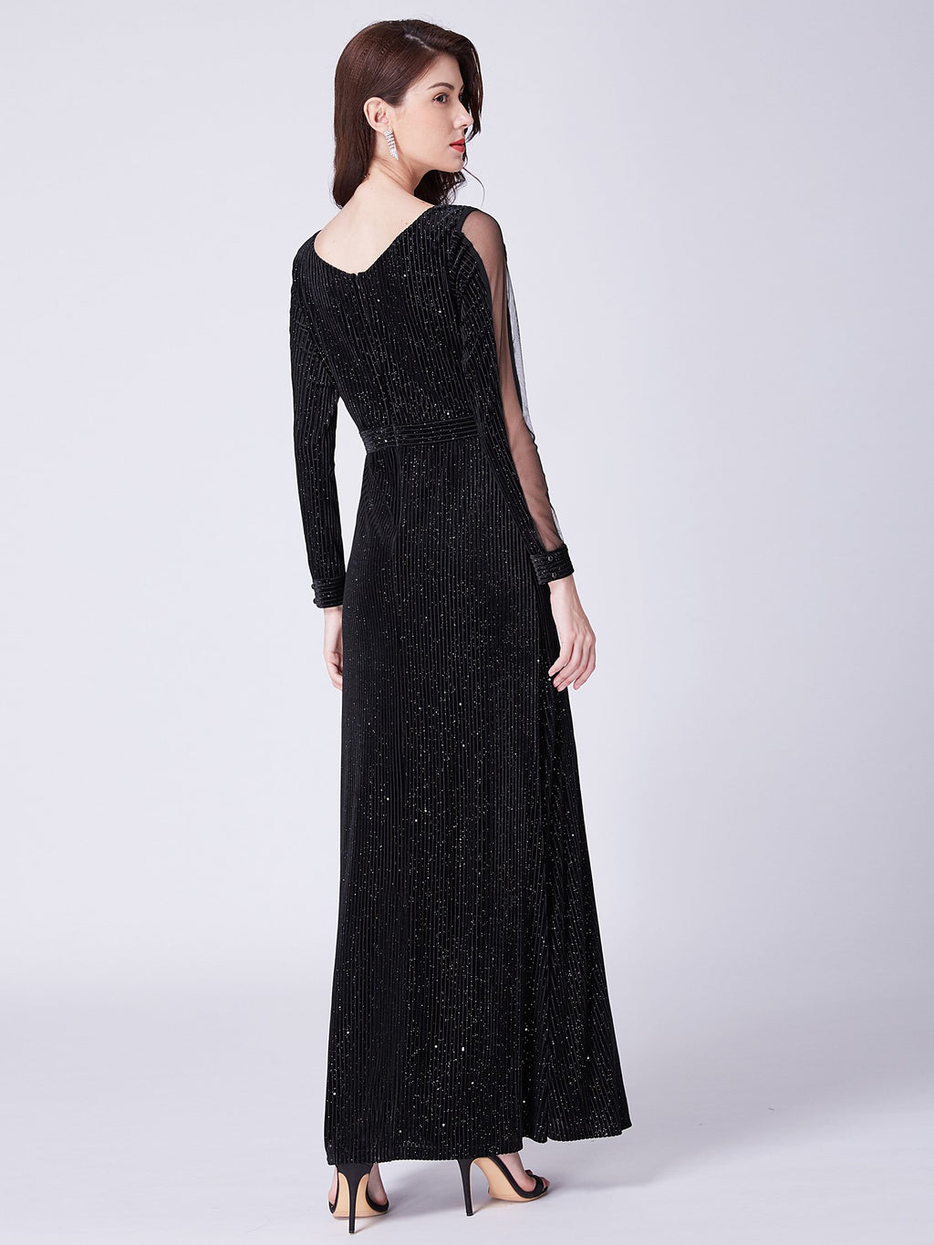 Glitter Long Sleeves Maxi Dress Black