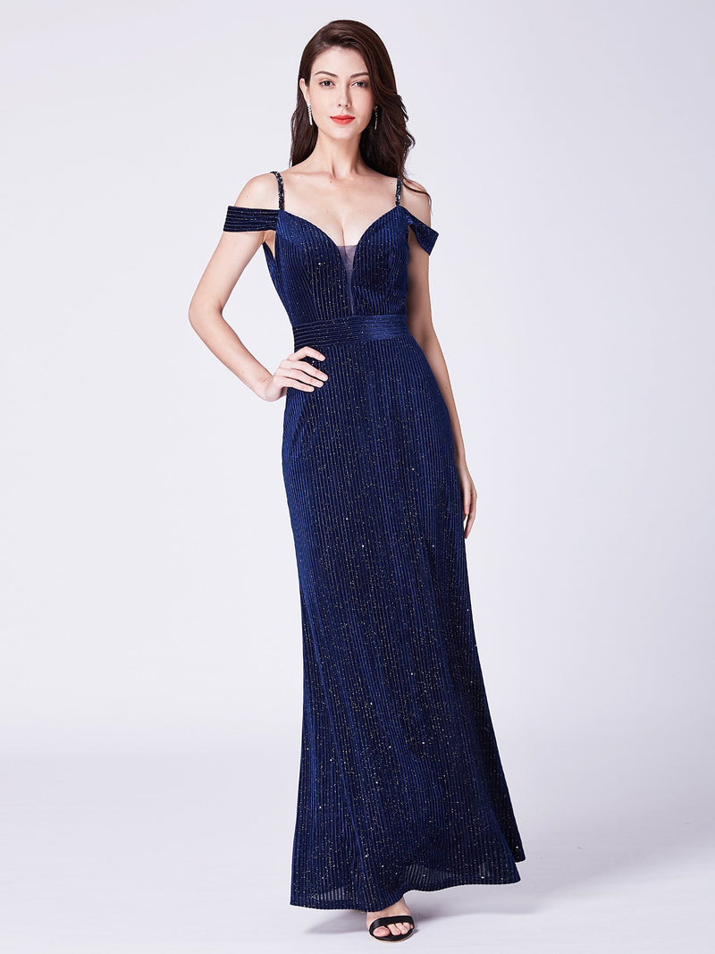 Sexy Long Glitter Dress Navy Blue