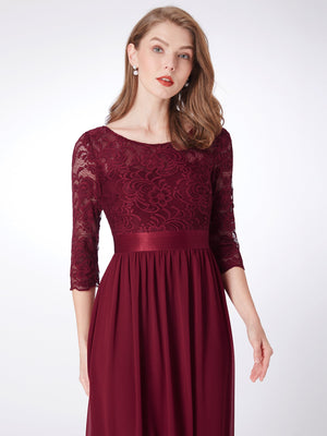 Lace Polyester Gorgeous Gown Burgundy