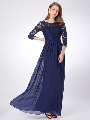 Lace Polyester Gorgeous Gown Blue