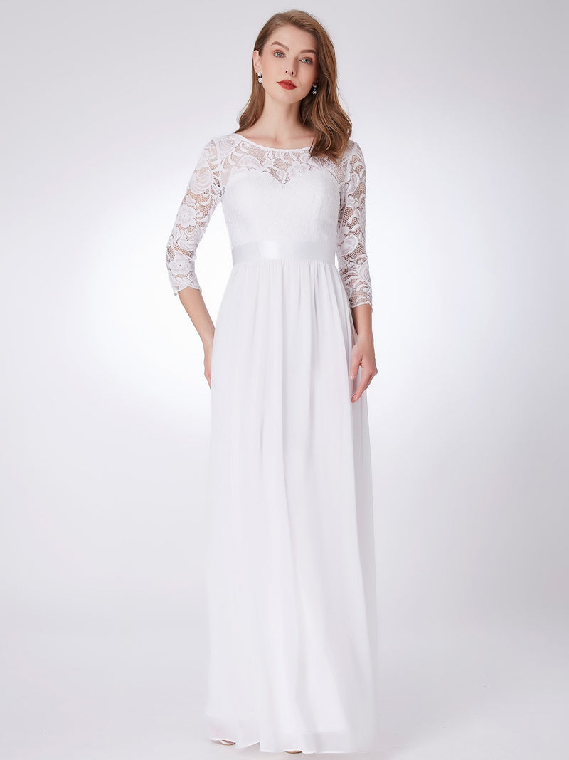 Lace Polyester Gorgeous Gown White
