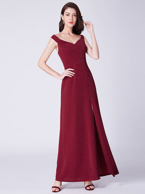 Side Slit Romantic Gown Burgundy