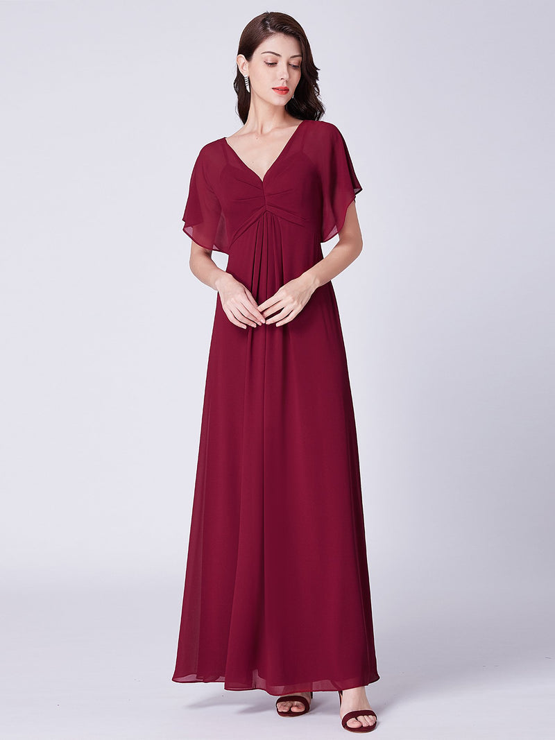 V Neck Simple Maxi Gown Burgundy