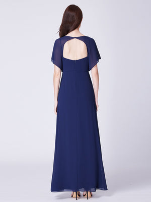 V Neck Simple Maxi Gown Navy Blue