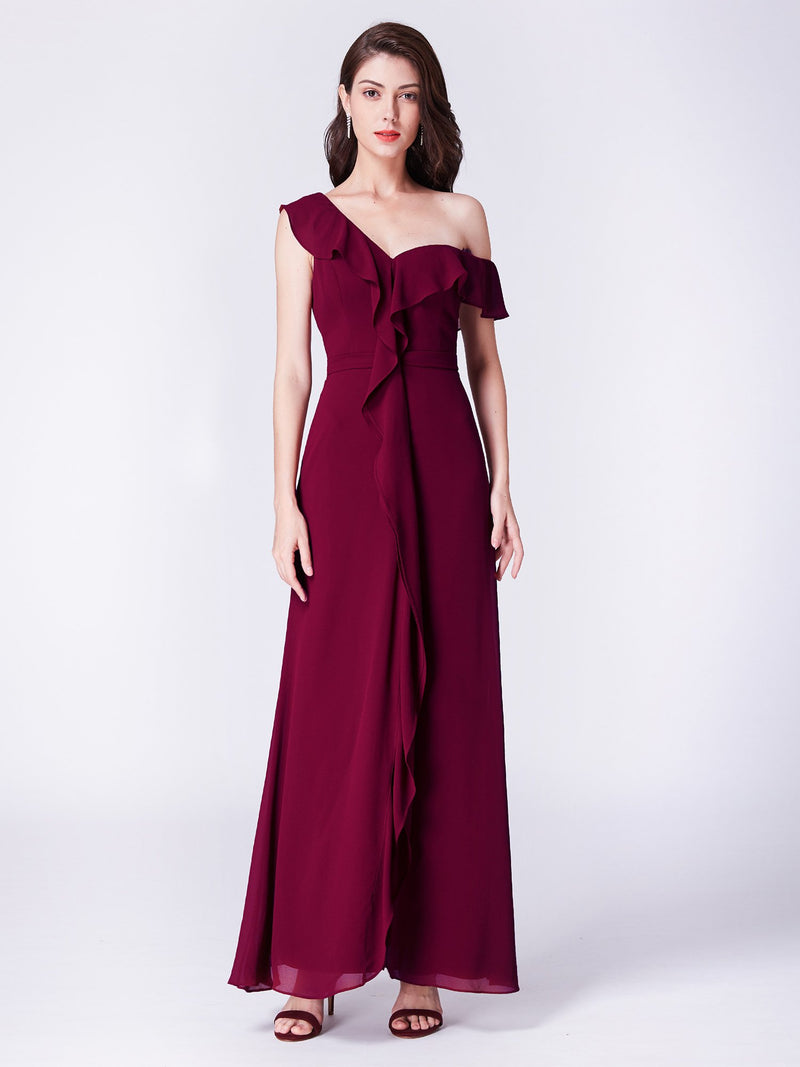 Off Shoulders Pretty Gorgeous Long Dress Burgundy