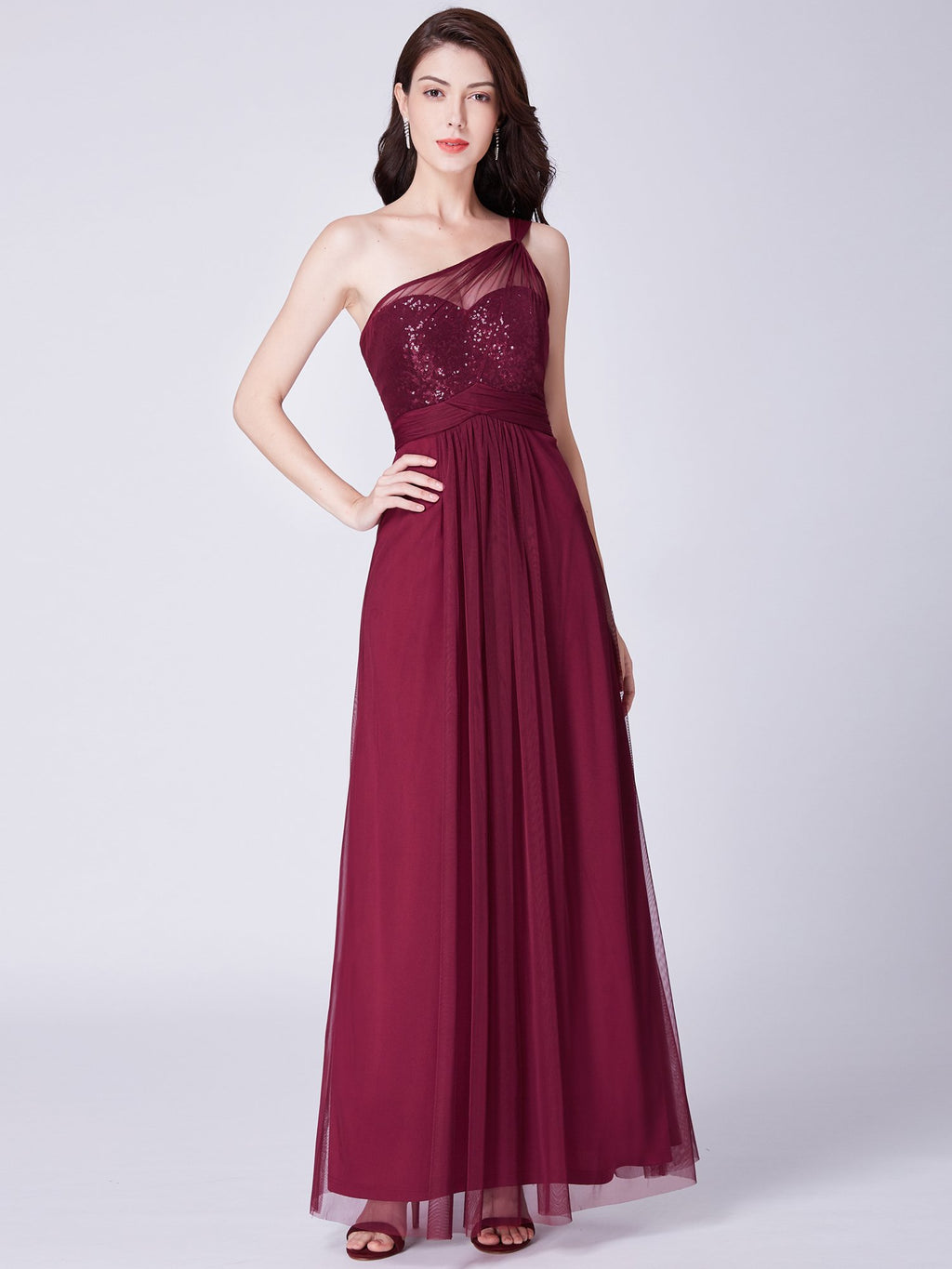 Sequins One Shoulder Evening Dress Burgundy
