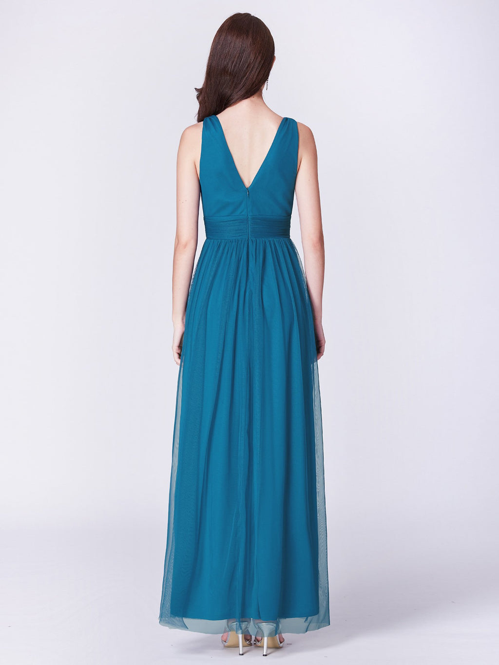 Long V Neck Gorgeous Dress Teal