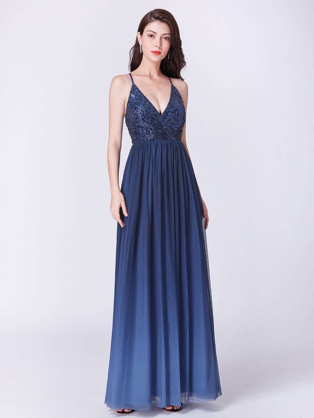 Deep V Neck Sexy Gorgeous Evening Dress Navy Blue