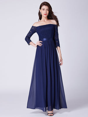 Off Shoulders Long Sleeves Dress Navy Blue