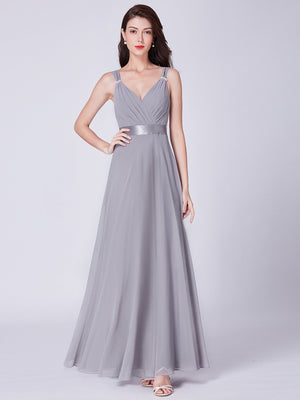 Elegant V Neck Chiffon Dress Grey