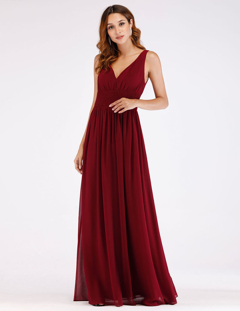 Burgundy Party Long Evening Gown