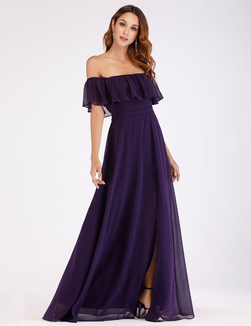 Off Shoulders Dark Purple Long Gown