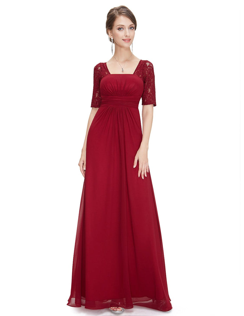 Square Neckline Long Gown Burgundy