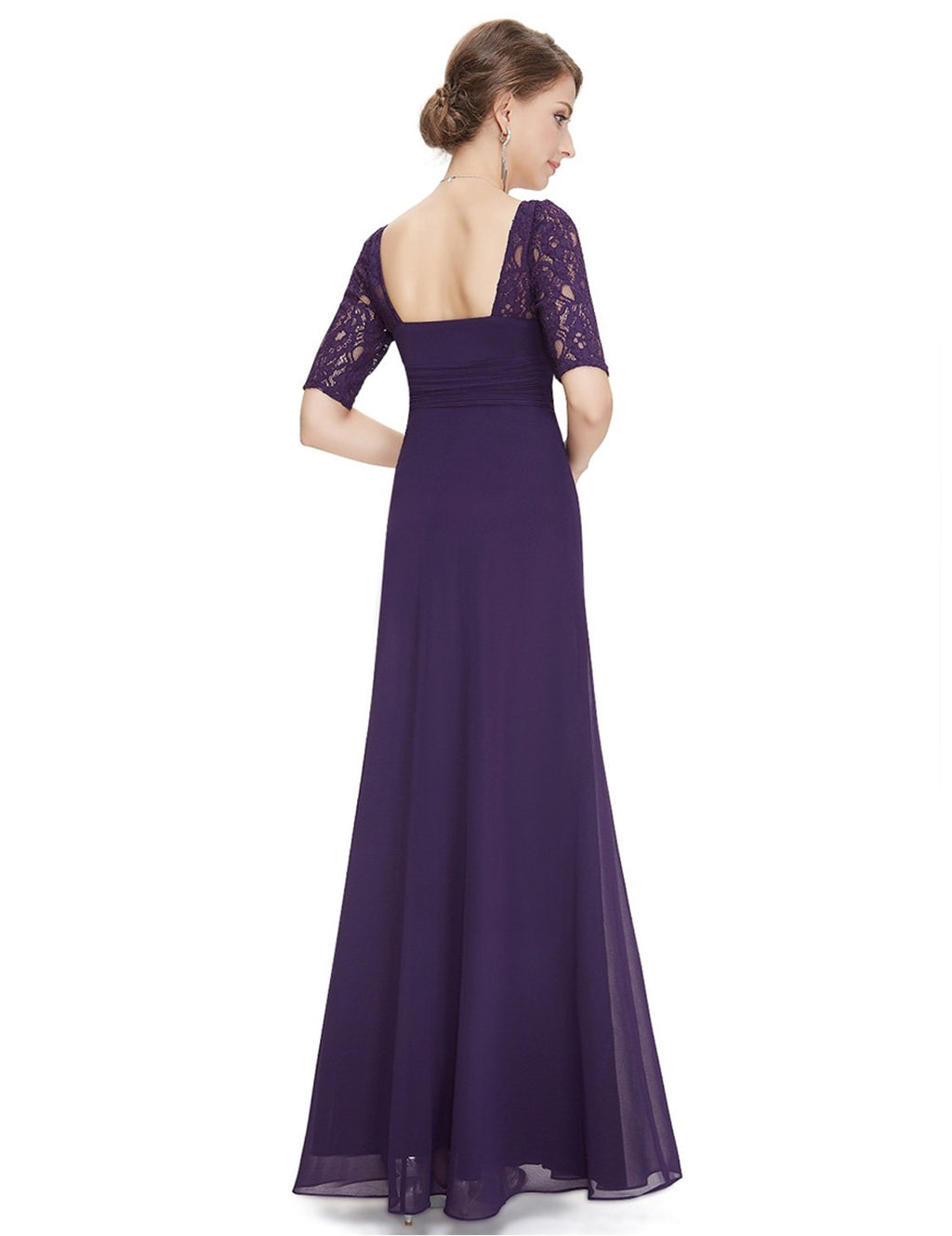 Square Neckline Long Gown Dark Purple