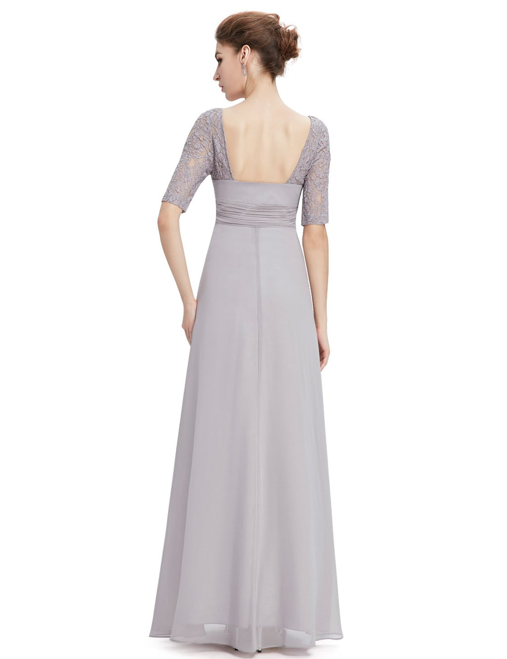 Square Neckline Long Gown Grey