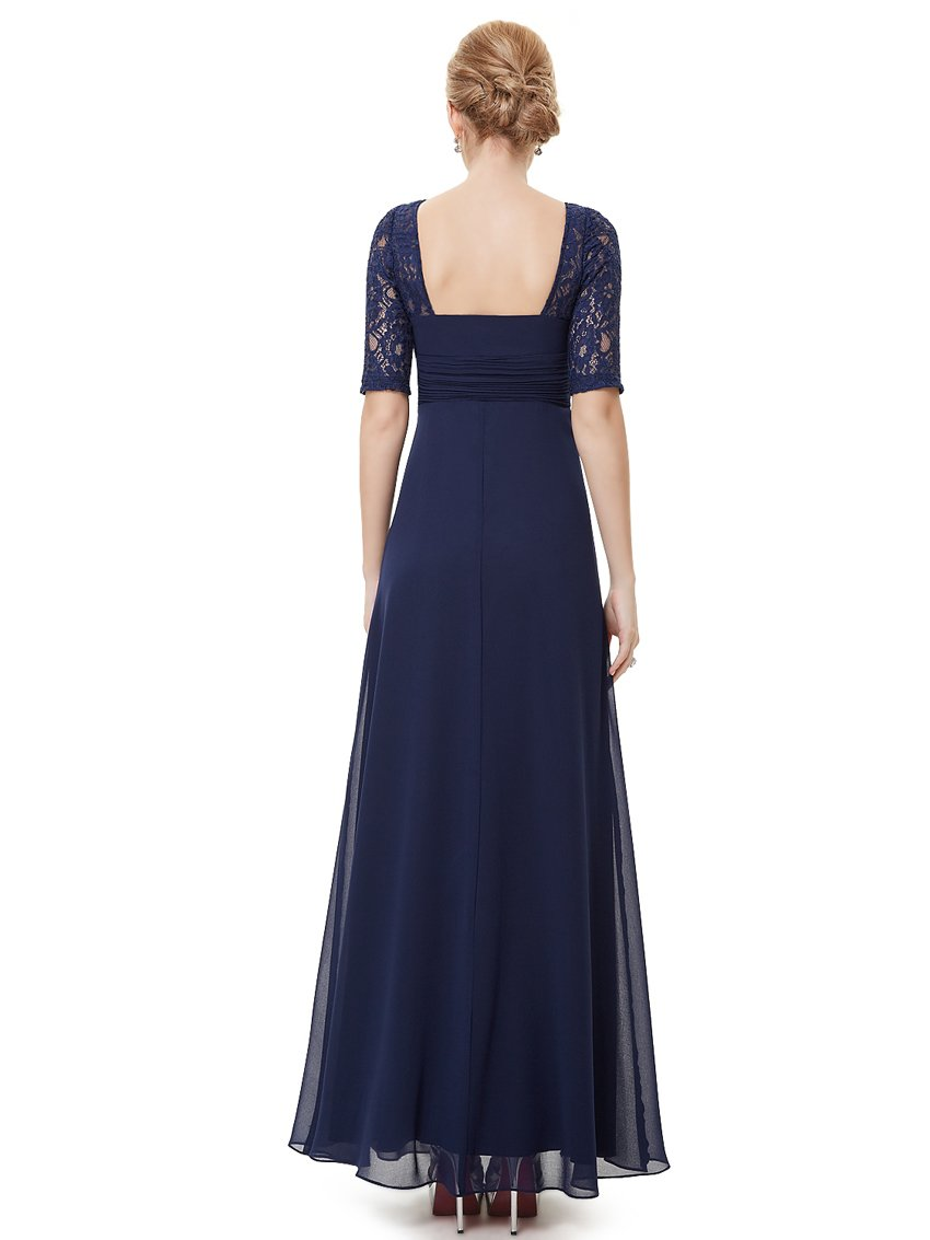 Square Neckline Long Gown Navy Blue