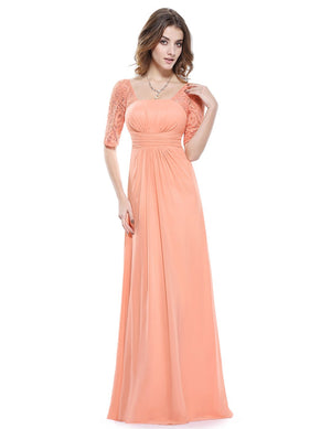 Square Neckline Long Gown Light Coral Peach