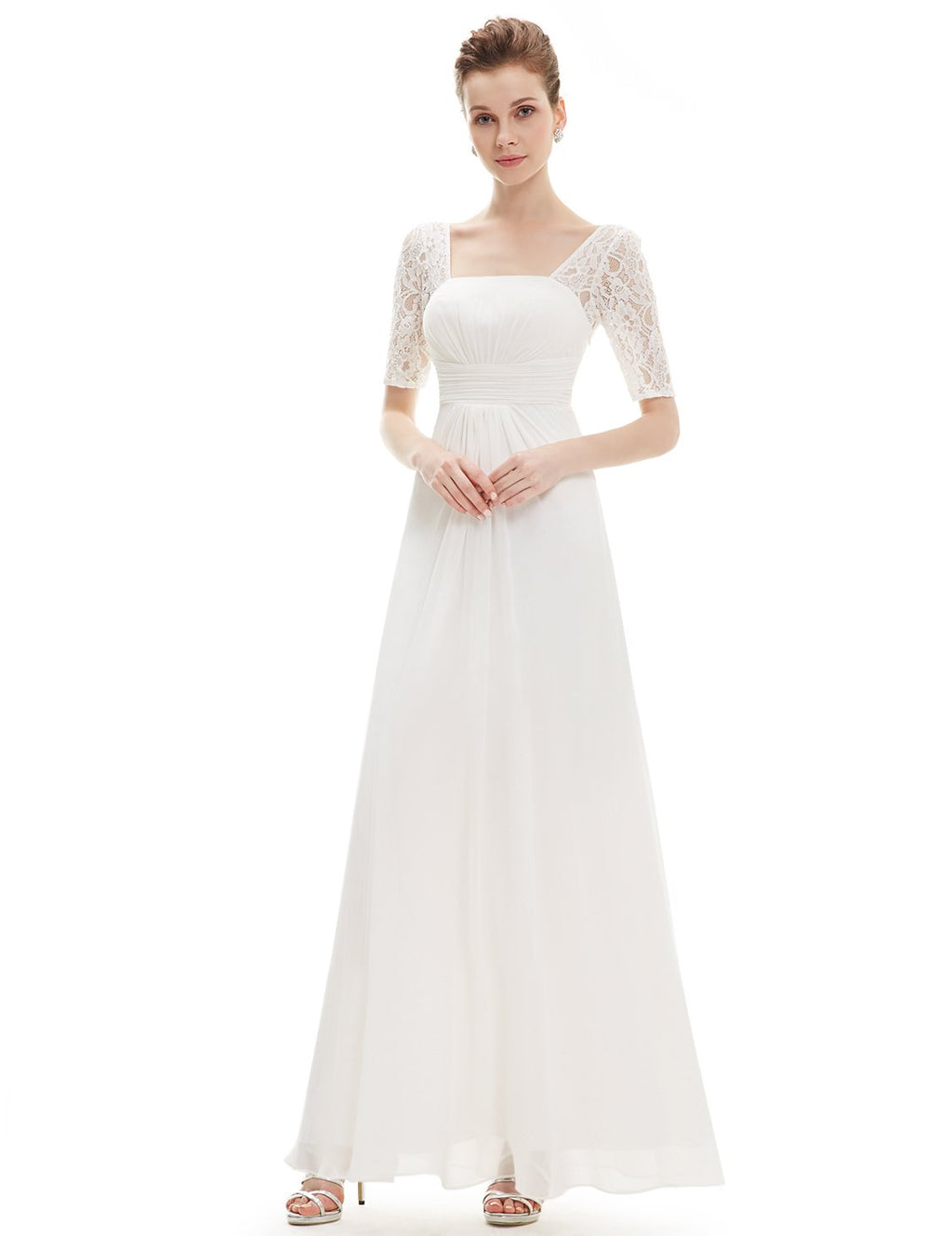 Square Neckline Long Gown White