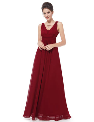 V Front Back Evening Dress Burgundy