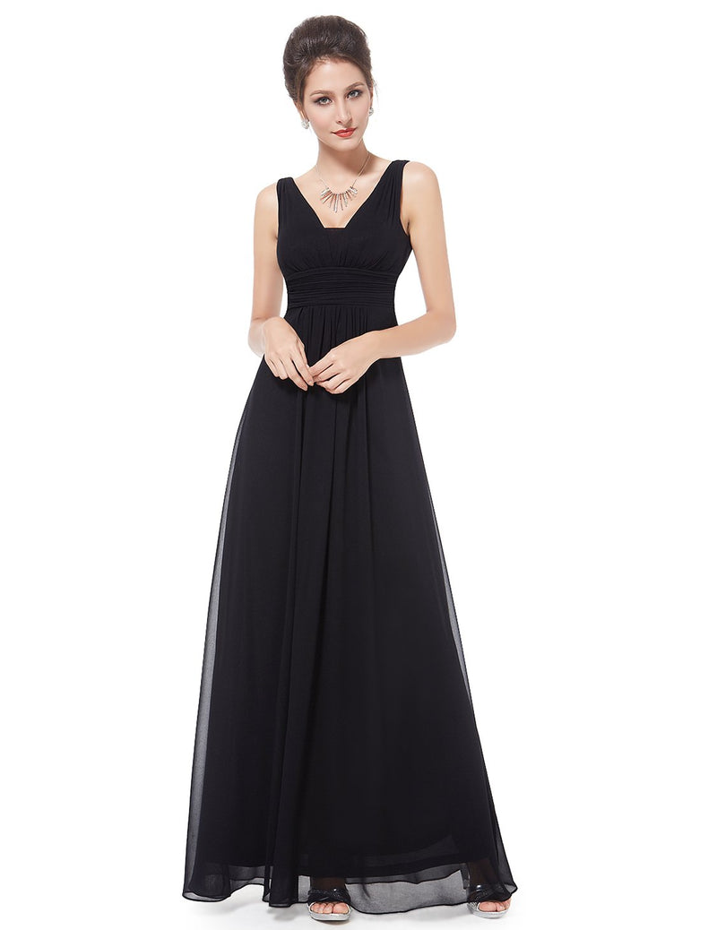 V Front Back Evening Dress Black
