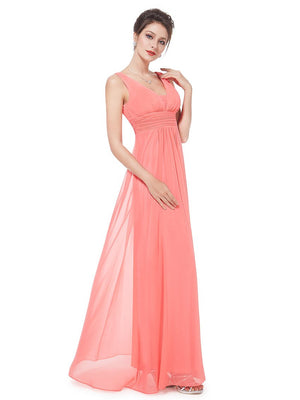 V Front Back Evening Dress Coral