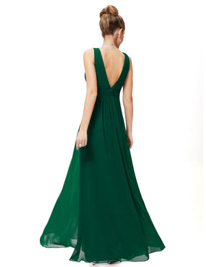 V Front Back Evening Dress Dark Green