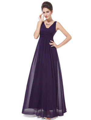 V Front Back Evening Dress Dark Purple
