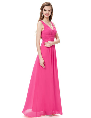 V Front Back Evening Dress Hot Pink