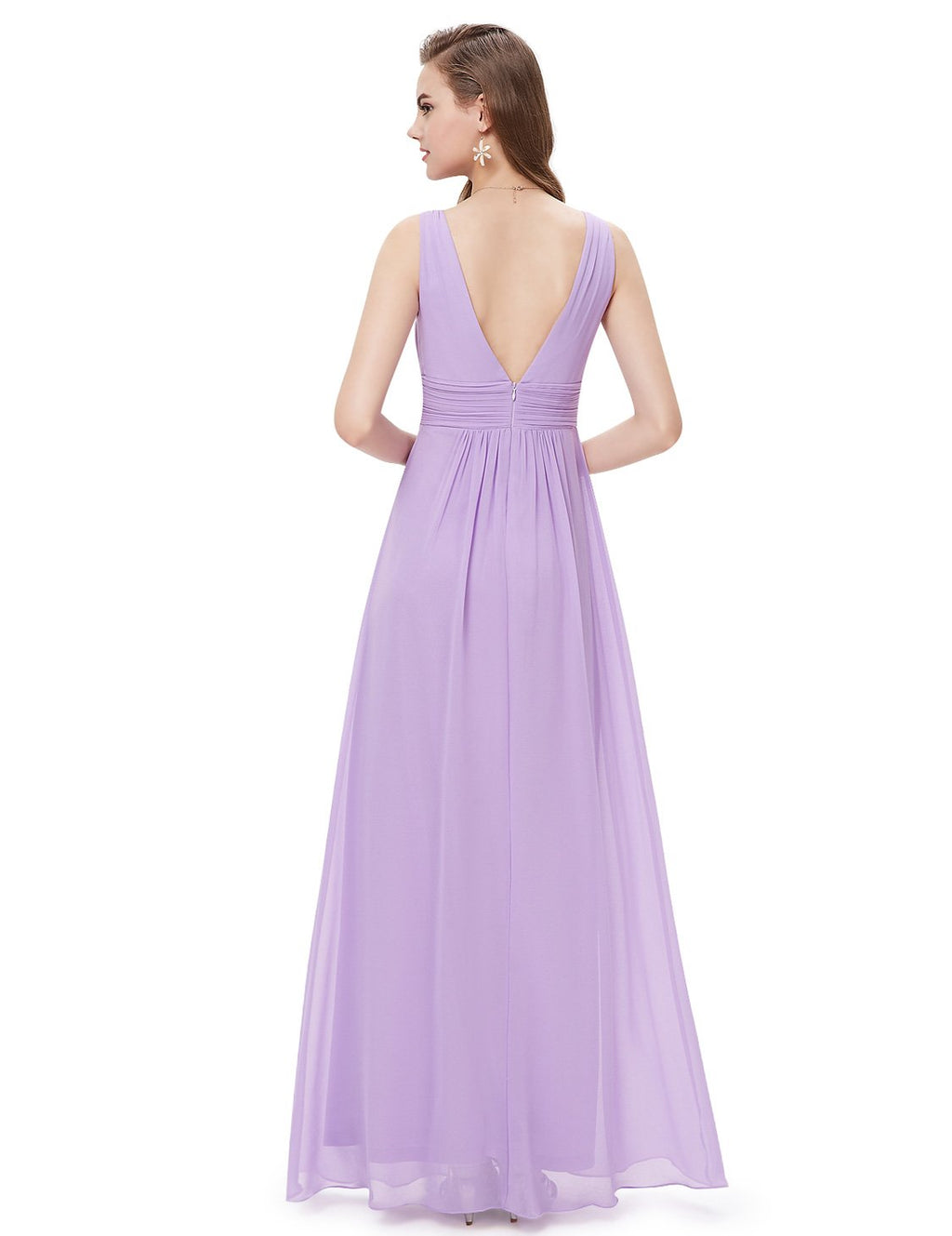 V Front Back Evening Dress Light Purple