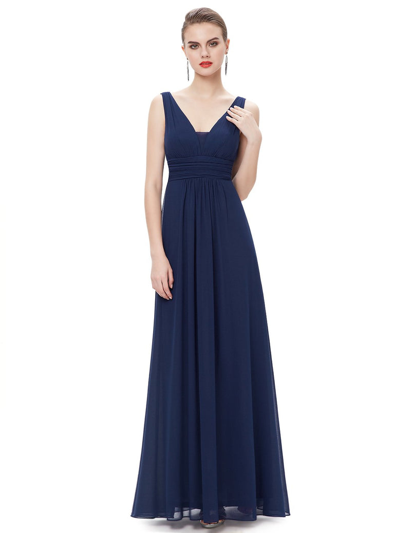 V Front Back Evening Dress Navy Blue